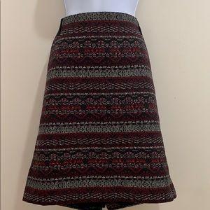 J. Jill Knee Length Elastic Sides Printed Skirt